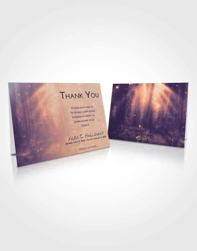 Funeral Thank You Card Template Lavender Sunset Magical Forest