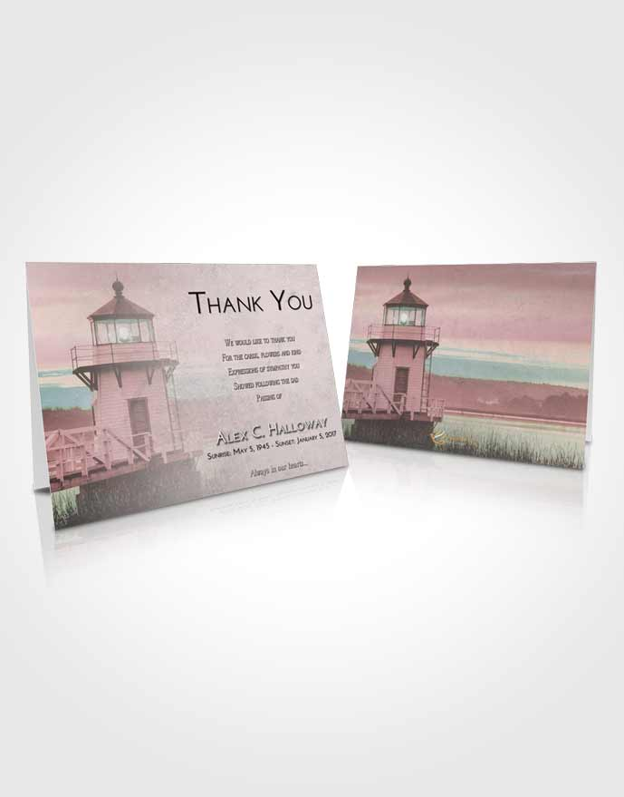 Funeral Thank You Card Template Morning Lighthouse Surprise