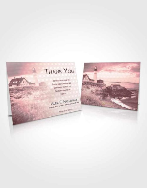 Funeral Thank You Card Template Pink Serenity Lighthouse Secret