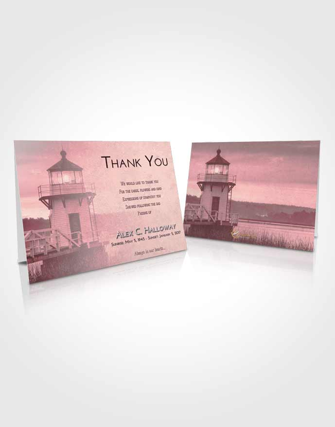 Funeral Thank You Card Template Pink Serenity Lighthouse Surprise