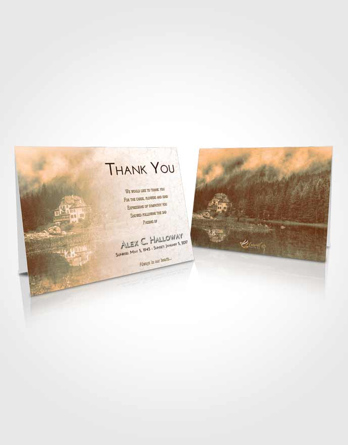 Funeral Thank You Card Template Soft Dusk Lake House