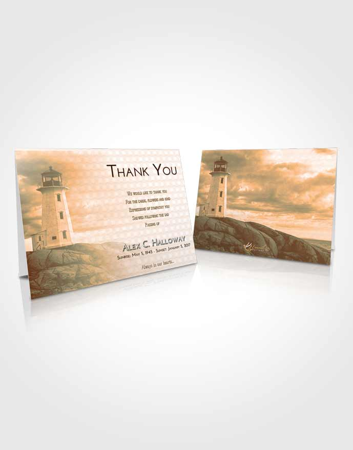 Funeral Thank You Card Template Soft Dusk Lighthouse Safety