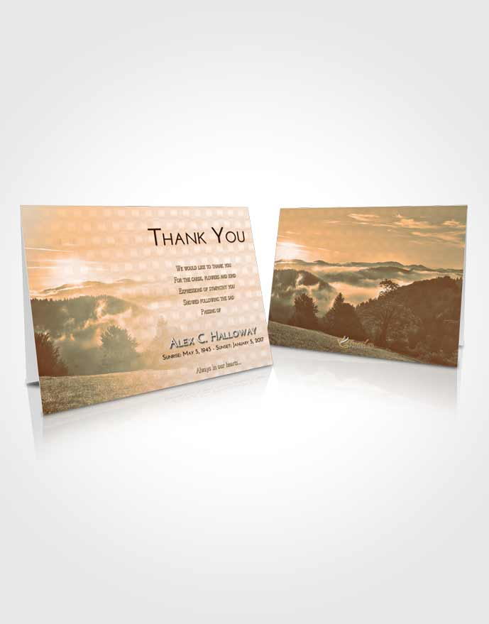 Funeral Thank You Card Template Soft Dusk Misty Forest