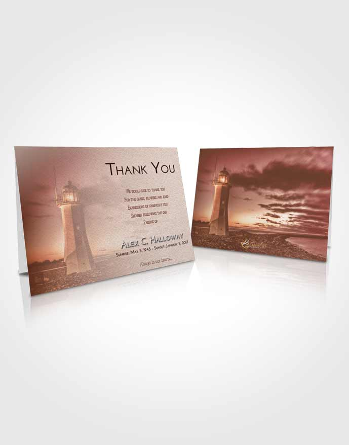 Funeral Thank You Card Template Strawberry Love Lighthouse Magnificence