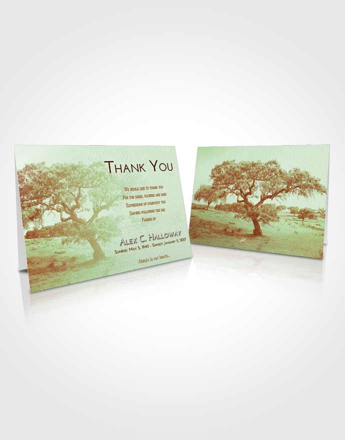 Funeral Thank You Card Template Strawberry Mist Loving Leaves