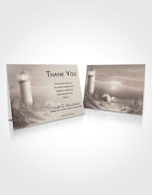 Funeral Thank You Card Template Tranquil Lighthouse Serenity