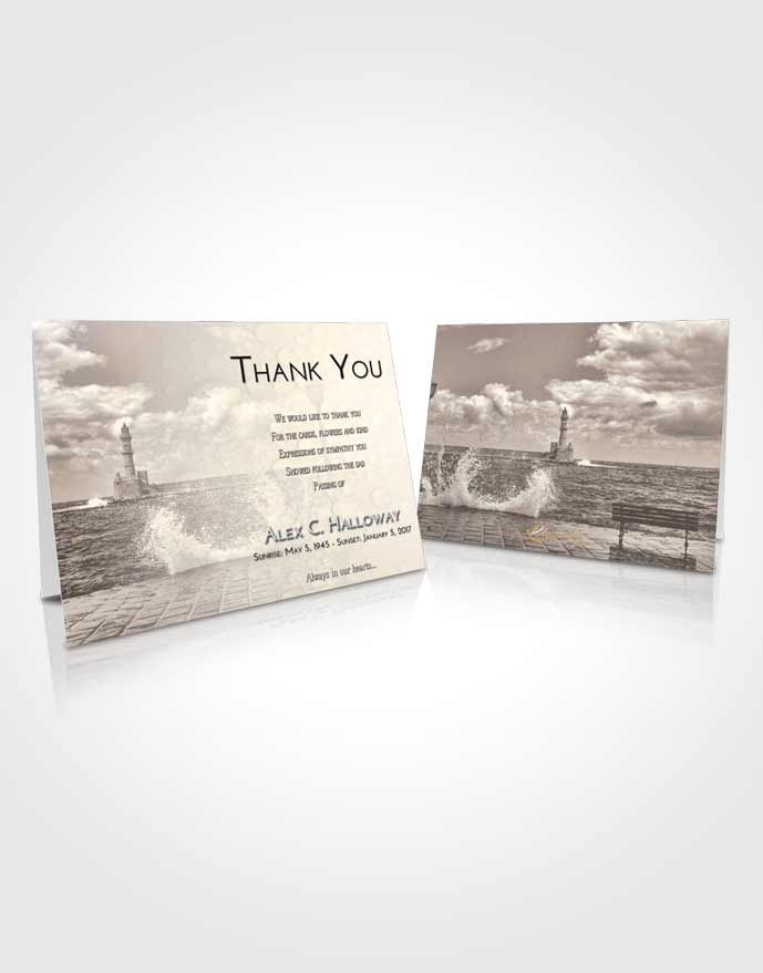Funeral Thank You Card Template Tranquil Lighthouse in the Tides