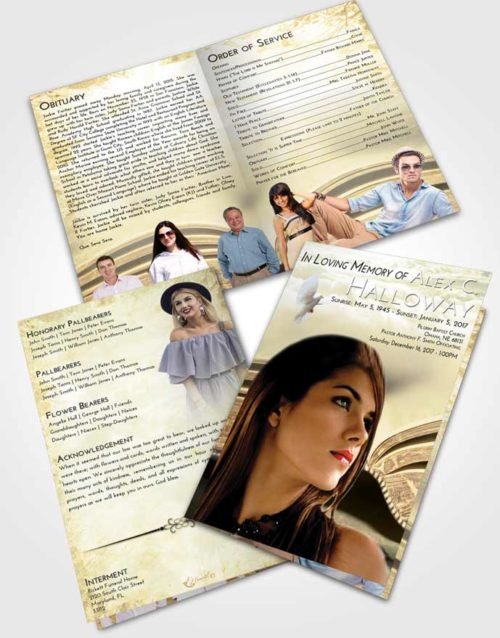 Bifold Order Of Service Obituary Template Brochure At Dusk Bible Love