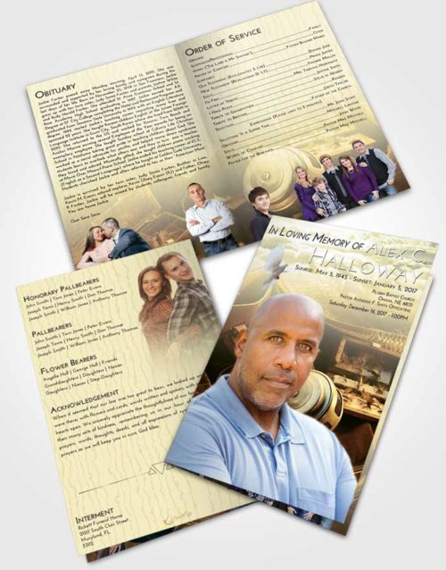 Bifold Order Of Service Obituary Template Brochure At Dusk Fishing Tackle
