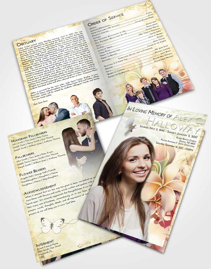 Bifold Order Of Service Obituary Template Brochure At Dusk Floral Wish