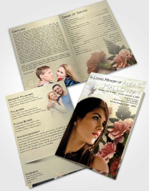 Bifold Order Of Service Obituary Template Brochure At Dusk Flower Magic