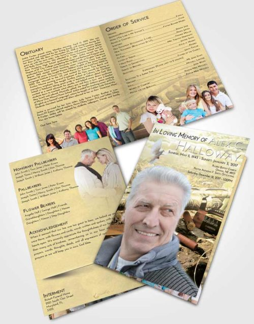 Bifold Order Of Service Obituary Template Brochure At Dusk Hunters Life