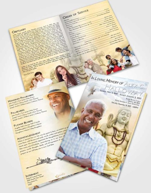 Bifold Order Of Service Obituary Template Brochure Early Hindu Mystery