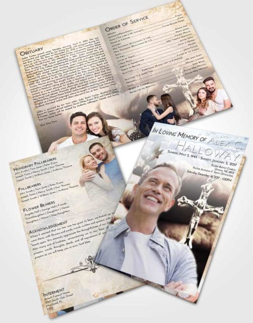 Bifold Order Of Service Obituary Template Brochure Early Rosary Life