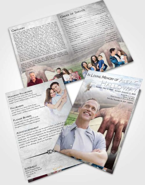 Bifold Order Of Service Obituary Template Brochure Early Rugby Surprise