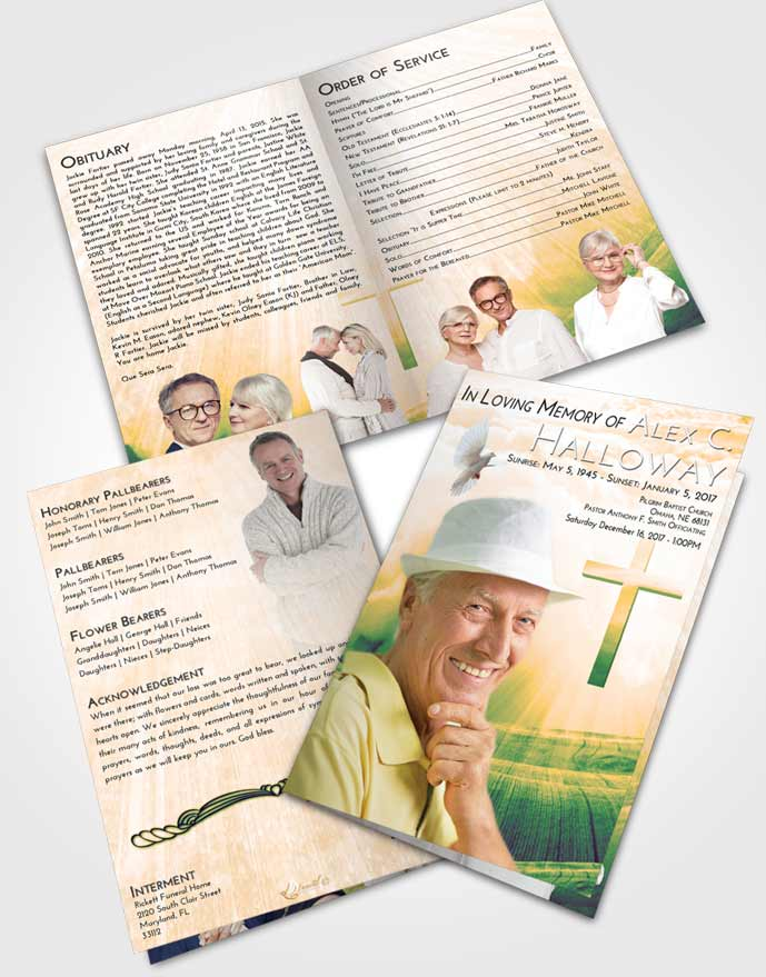 Bifold Order Of Service Obituary Template Brochure Emerald Serenity The Cross of Life