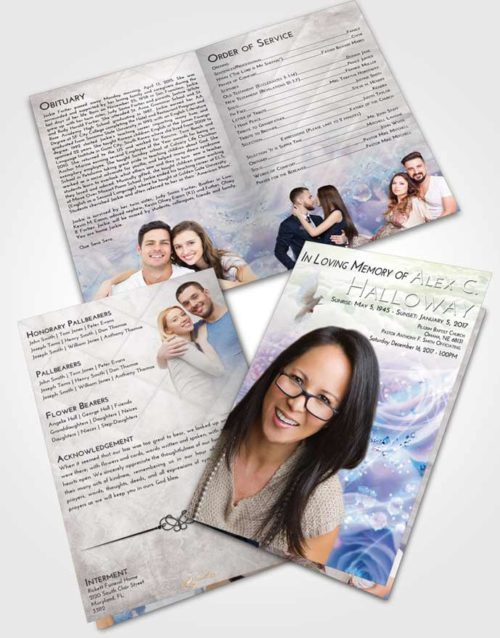 Bifold Order Of Service Obituary Template Brochure Emerald Sunrise Floral Relaxation