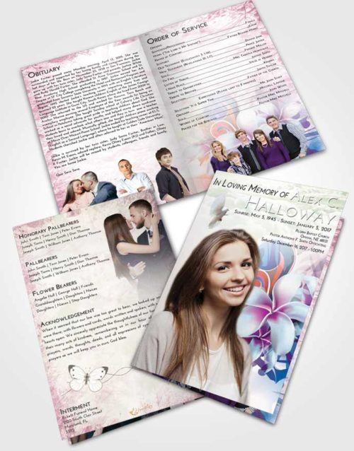 Bifold Order Of Service Obituary Template Brochure Emerald Sunrise Floral Wish
