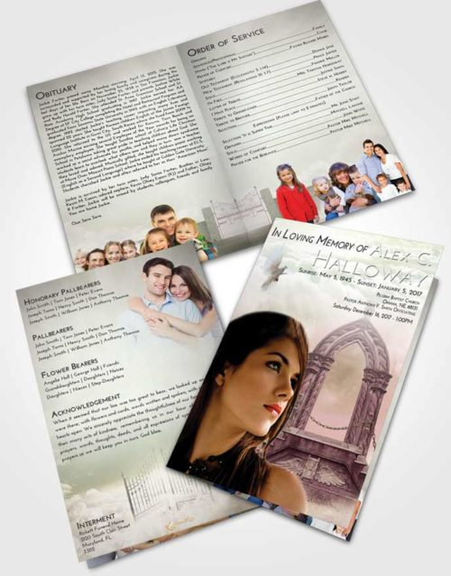 Bifold Order Of Service Obituary Template Brochure Emerald Sunrise Heavens Path