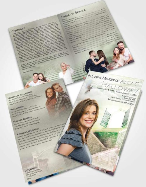 Bifold Order Of Service Obituary Template Brochure Emerald Sunrise Stairway to the Gates of Heaven