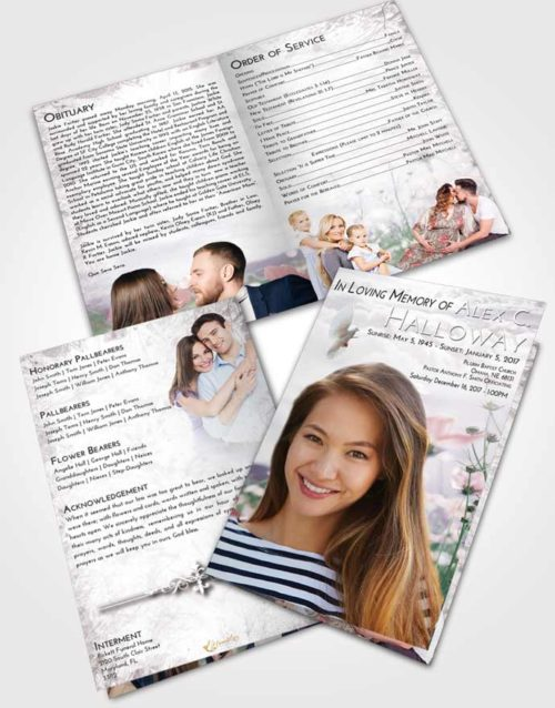 Bifold Order Of Service Obituary Template Brochure Evening Floral Whispers