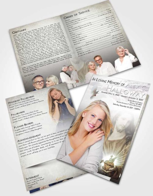 Bifold Order Of Service Obituary Template Brochure Evening Jesus Christ
