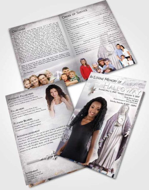 Bifold Order Of Service Obituary Template Brochure Evening Mary Full of Grace