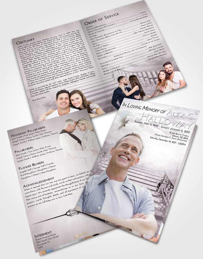 Bifold Order Of Service Obituary Template Brochure Evening Stairway to Freedom