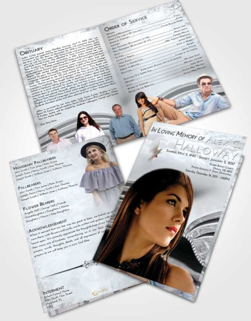 Bifold Order Of Service Obituary Template Brochure Freedom Bible Love