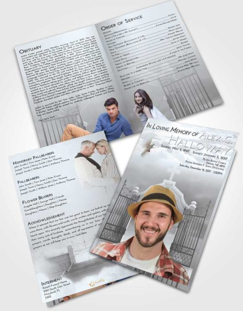 Bifold Order Of Service Obituary Template Brochure Freedom Clear Gates For Heaven