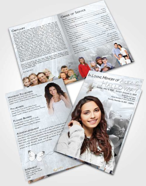 Bifold Order Of Service Obituary Template Brochure Freedom Floral Magic