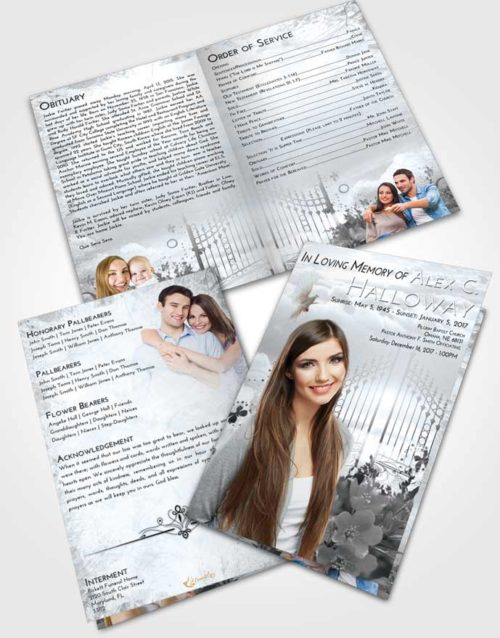 Bifold Order Of Service Obituary Template Brochure Freedom Flowery Gates to Heaven