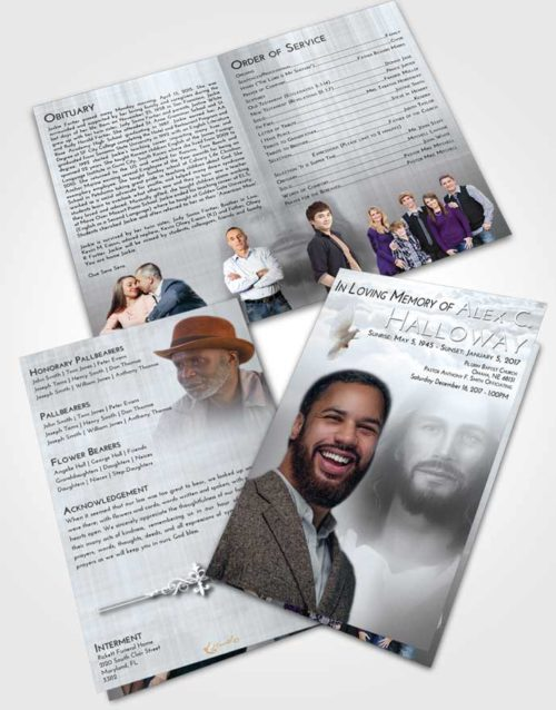 Bifold Order Of Service Obituary Template Brochure Freedom Jesus in Heaven