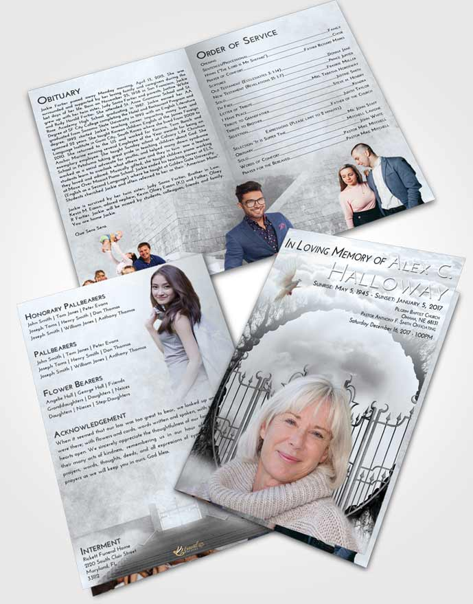 Bifold Order Of Service Obituary Template Brochure Freedom Mystical Gates of Heaven