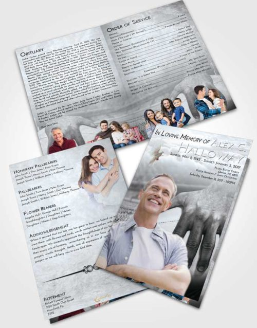Bifold Order Of Service Obituary Template Brochure Freedom Rugby Surprise