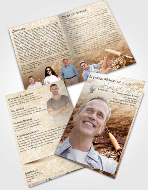 Bifold Order Of Service Obituary Template Brochure Golden Fishing on the Rocks