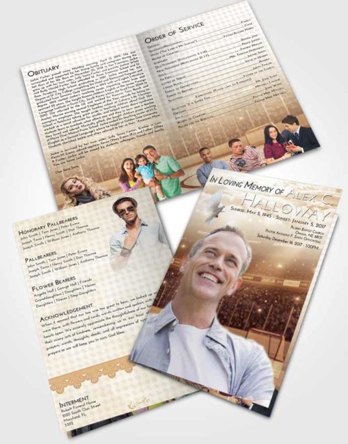 Bifold Order Of Service Obituary Template Brochure Golden Hockey Love