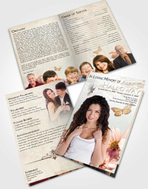 Bifold Order Of Service Obituary Template Brochure Golden Peach Floral Sky