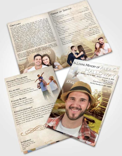 Bifold Order Of Service Obituary Template Brochure Golden Peach Jungle Music
