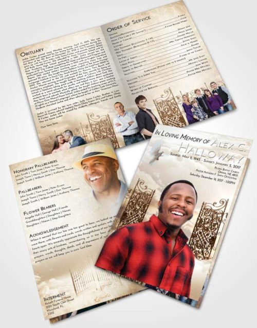 Bifold Order Of Service Obituary Template Brochure Golden Peach Pearly Gates of Heaven