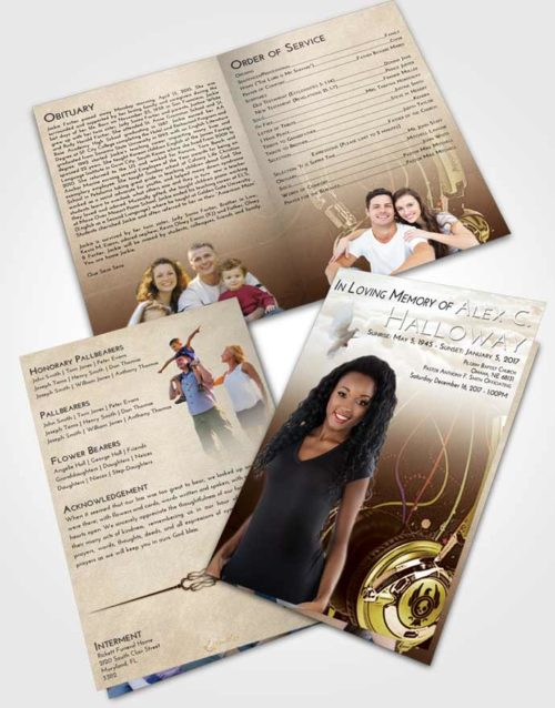 Bifold Order Of Service Obituary Template Brochure Golden Vivace