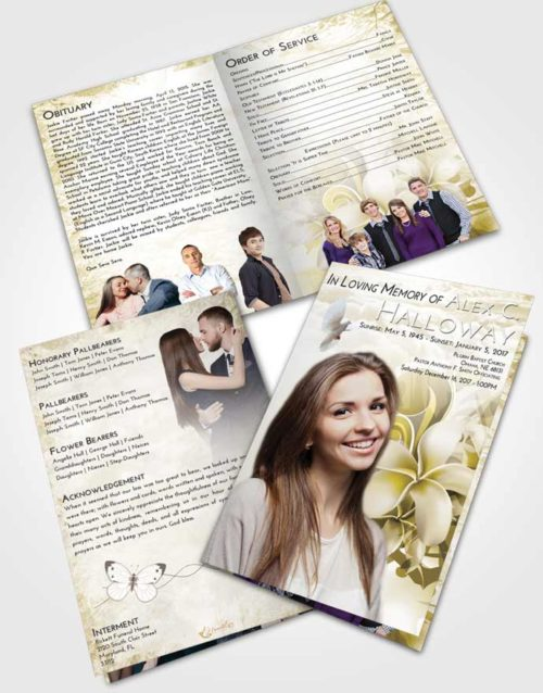 Bifold Order Of Service Obituary Template Brochure Harmony Floral Wish
