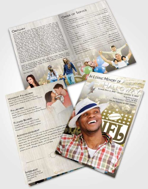 Bifold Order Of Service Obituary Template Brochure Harmony NFL Star
