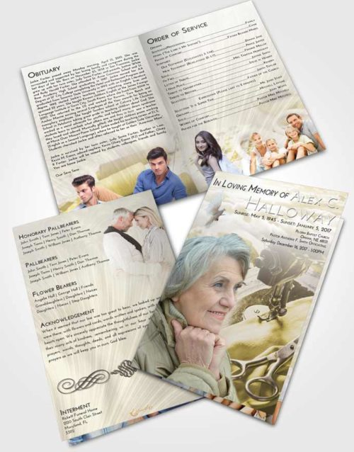Bifold Order Of Service Obituary Template Brochure Harmony Sewing Love