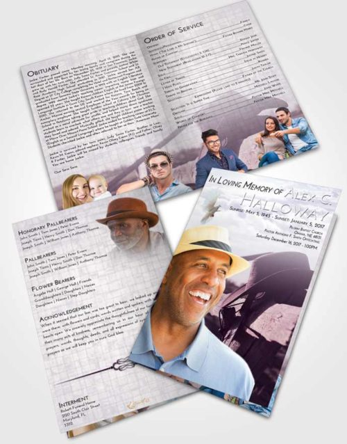 Bifold Order Of Service Obituary Template Brochure Lavender Sunrise Cowboy Honor