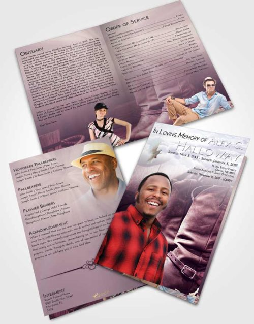 Bifold Order Of Service Obituary Template Brochure Lavender Sunrise Cowboy Love