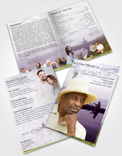 Bifold Order Of Service Obituary Template Brochure Lavender Sunrise Fish in the Water