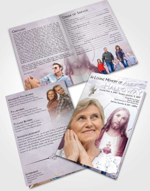 Bifold Order Of Service Obituary Template Brochure Lavender Sunrise Jesus our Lord