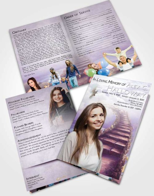 Bifold Order Of Service Obituary Template Brochure Lavender Sunrise Stairway Above