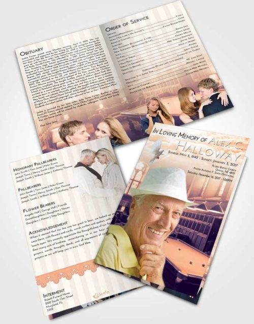 Bifold Order Of Service Obituary Template Brochure Lavender Sunset Billiards Journey
